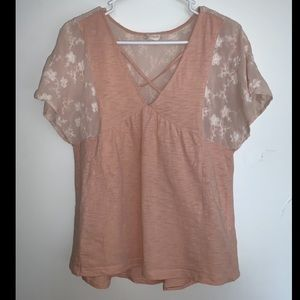 Altar'd State Medium Blouse Peach with Embroidery